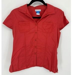 Columbia red button down blouse S